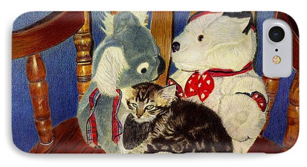 Rocking With Friends - Kitten And Stuffed Animals Painting IPhone Case