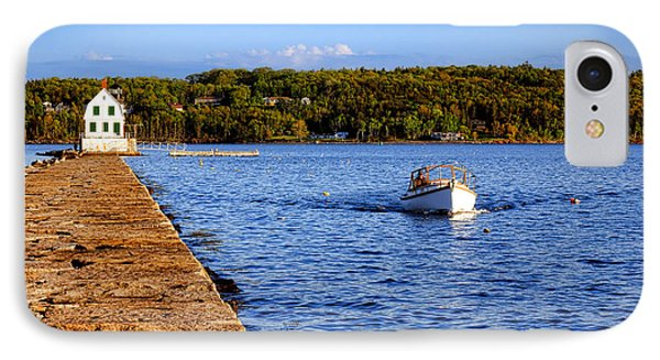 Rockland Harbor Breakwater Light And Passing Craft IPhone Case