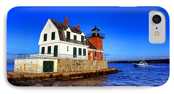 Rockland Harbor Light And Fishing Boat IPhone Case