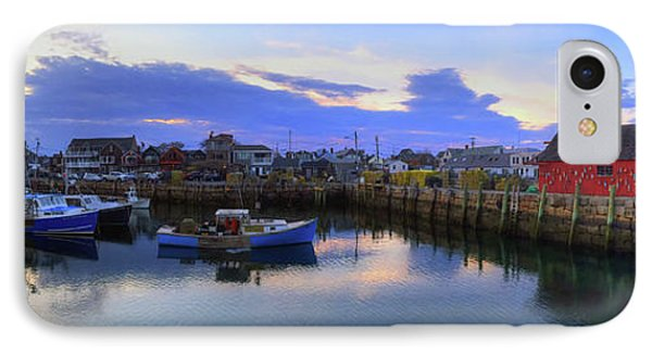 IPhone Case featuring the photograph Rockport Harbor Sunset Panoramic With Motif No1 by Joann Vitali