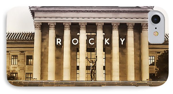 Rocky Balboa On The Art Museum Steps IPhone Case by Bill Cannon