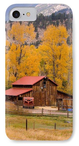 Rocky Mountain Barn Autumn View IPhone Case