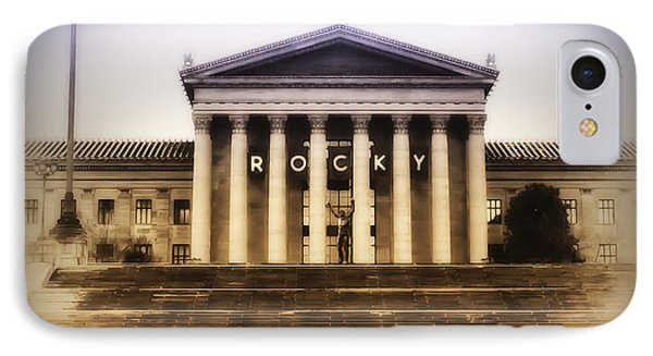 Rocky On The Art Museum Steps IPhone Case by Bill Cannon