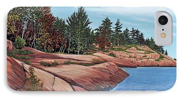 IPhone Case featuring the painting Rocky River Shore by Kenneth M Kirsch