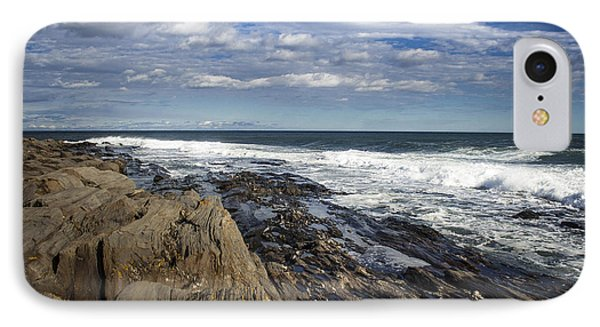 Rocky Shore Line Two Lights Maine  IPhone Case by Debra Forand