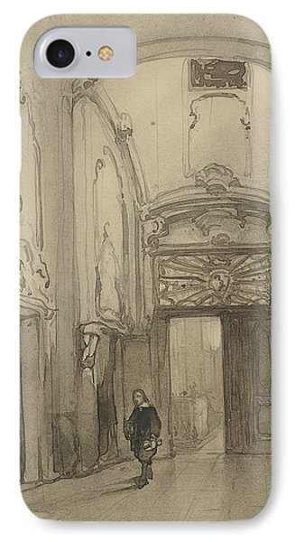 Rococo Portal In City Hall In The Hague With A Man In Seventeenth-century Costume IPhone Case by Johannes Bosboom