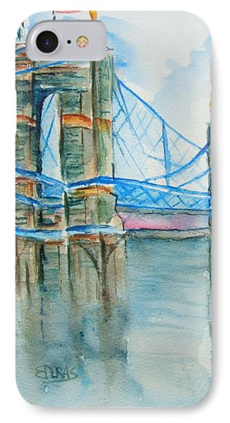 Roebling On The Ohio River IPhone Case by Elaine Duras