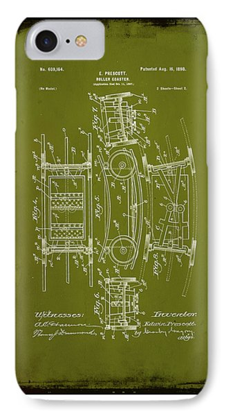 Roller Coaster Patent Drawing 1a IPhone Case by Brian Reaves