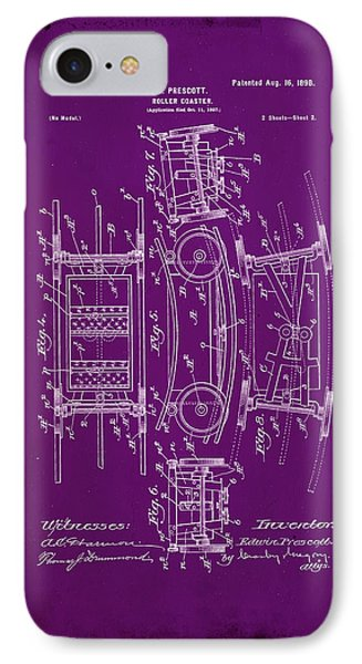 Roller Coaster Patent Drawing 1c IPhone Case by Brian Reaves