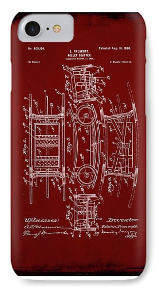 Roller Coaster Patent Drawing 1e IPhone Case by Brian Reaves