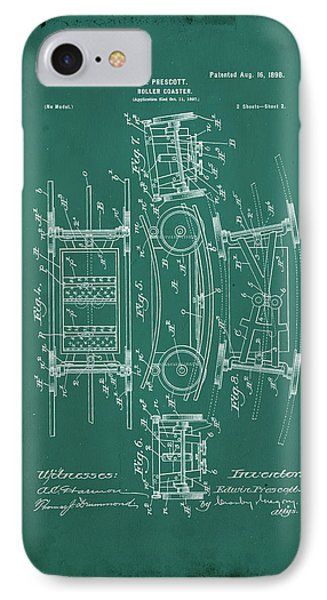Roller Coaster Patent Drawing  IPhone Case by Brian Reaves