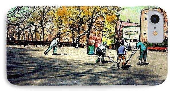 Roller Hockey In Bennett Park Phone Case by Sarah Loft