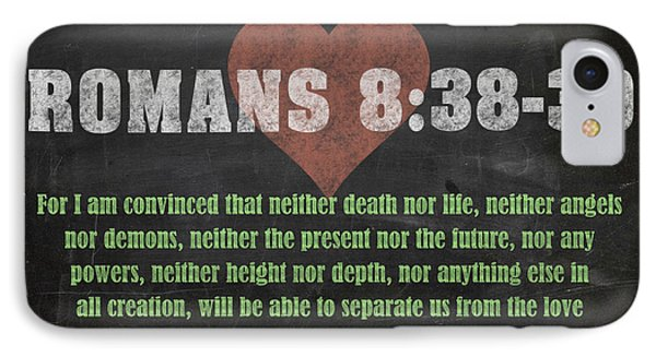 Romans 8 38-39 Inspirational Quote Bible Verses On Chalkboard Art IPhone Case