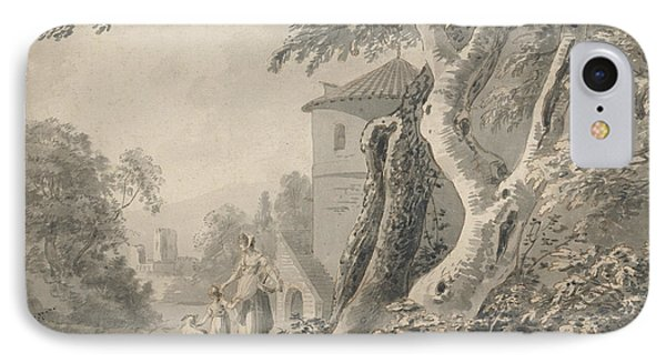 Romantic Landscape With Figures And A Dog IPhone Case by Paul Sandby