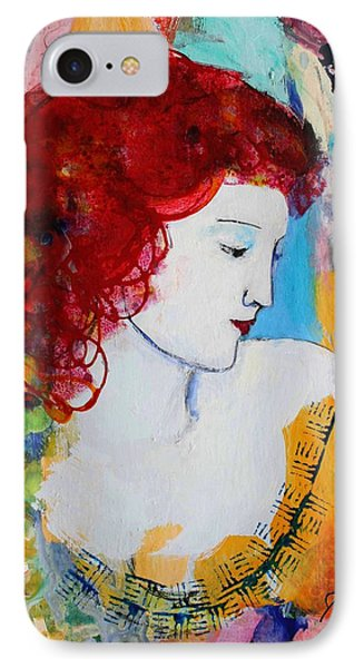 Romantic Read Heaired Woman IPhone Case