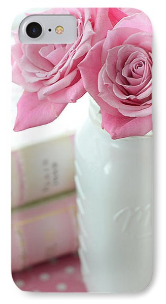 Romantic Shabby Chic Pink And White Roses - Pink Roses In White Mason Jar IPhone Case by Kathy Fornal