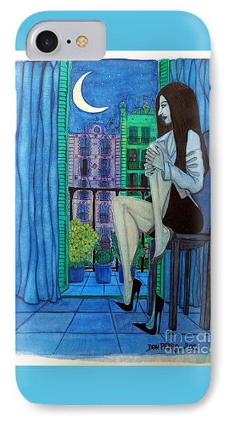 IPhone Case featuring the painting Romantic Woman At Balcony by Don Pedro De Gracia