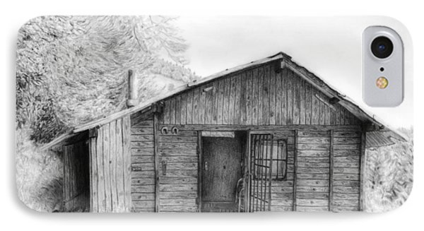 Romantic Wooden Cabin In Mountain Landscape Beautiful Detailed Monochromatic Pencil Drawing IPhone Case by Jozef Klopacka
