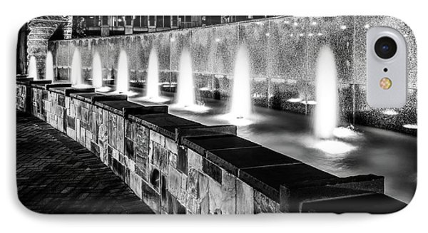 Romare Bearden Park Fountain Black And White Photo IPhone Case by Paul Velgos