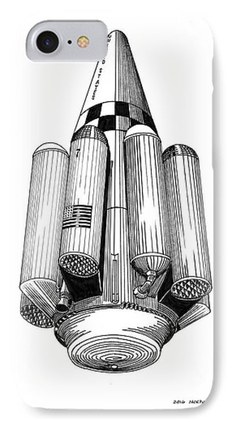 IPhone Case featuring the drawing Rombus Heavey Lift Reusable Rocket by Jack Pumphrey