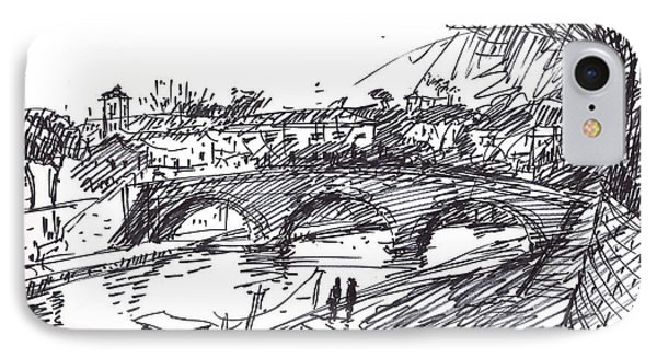 Bridge At Isola Tiberina Rome Sketch IPhone Case by Ylli Haruni