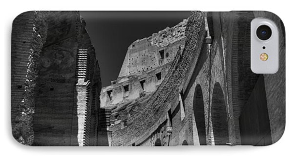 IPhone Case featuring the photograph Rome - The Colosseum 001 Bw by Lance Vaughn