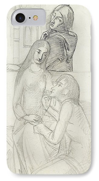 Romeo And Juliet, With Friar Lawrence IPhone Case by Simeon Solomon