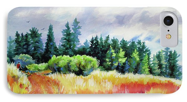 IPhone Case featuring the painting Romp On The Hill by Kathy Braud