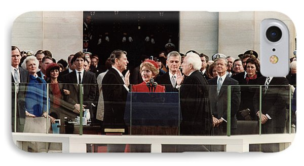 George Bush iPhone 7 Case - Ronald Reagan Inauguration - 1981 by War Is Hell Store