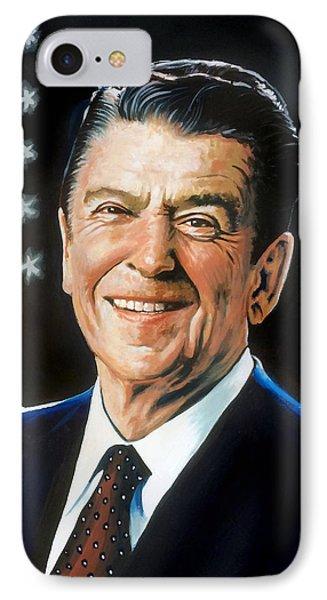 Ronald Reagan Portrait Phone Case by Robert Korhonen