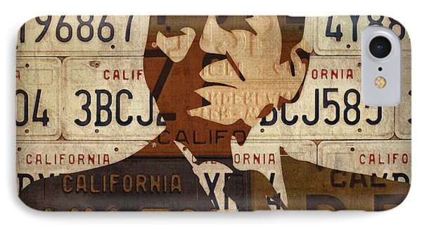 Ronald Reagan Presidential Portrait Made Using Vintage California License Plates IPhone Case by Design Turnpike