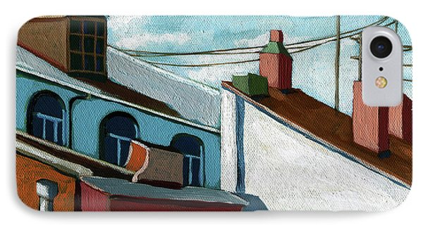 IPhone Case featuring the painting Rooftops by Linda Apple