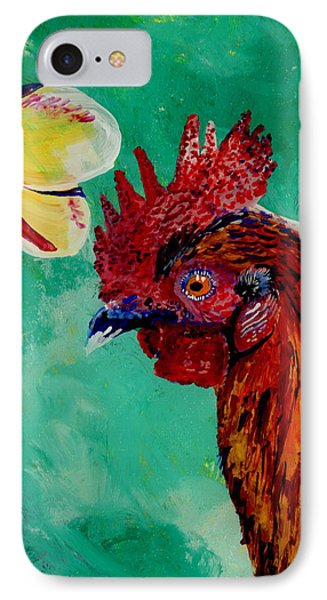 Rooster And Plumeria IPhone Case by Marionette Taboniar
