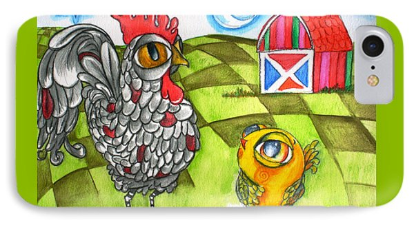 Rooster Coburn And The Chick IPhone Case by Shelley Overton