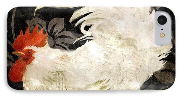 Rooster Damask Dark IPhone 7 Case by Mindy Sommers