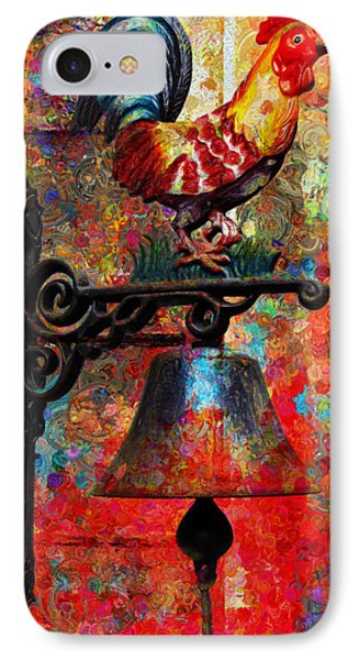 Rooster On The Door Whimsy IPhone Case by Georgiana Romanovna