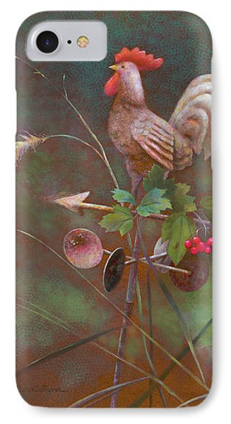 IPhone Case featuring the painting Rooster Weather Vane In Garden by Nancy Lee Moran