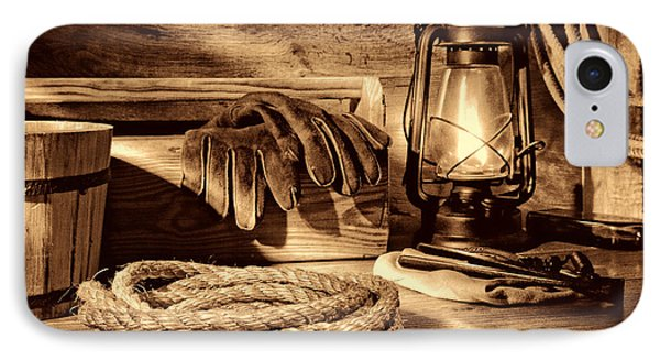 Rope And Tools In A Barn IPhone Case by American West Legend By Olivier Le Queinec