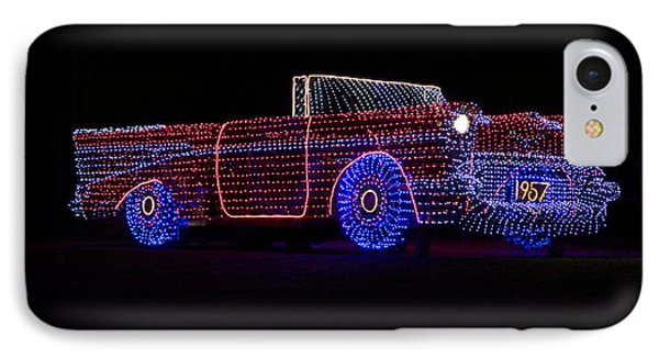 Rope Light Art 1957 Chevy IPhone Case by Thomas Woolworth