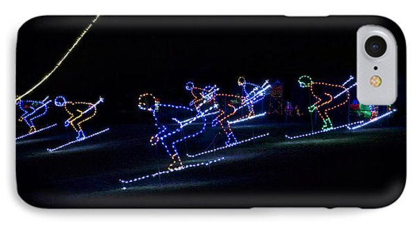 Rope Light Art Skiers IPhone Case by Thomas Woolworth
