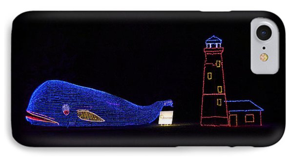 Rope Light Art Whale And Light House IPhone Case by Thomas Woolworth