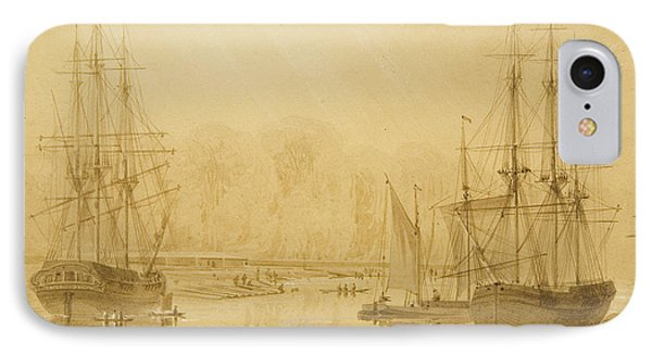Ropewalk At Wapping, West Indiaman Union On Left, 1826  IPhone Case by Thomas Leeson the Elder Rowbotham