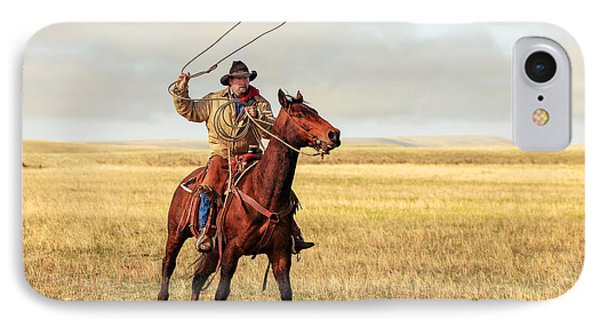 Roping On The High Plains IPhone Case by Todd Klassy