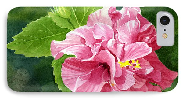 Rose Colored Hibiscus With Textured Background IPhone Case