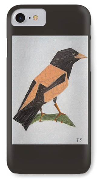 Rose-coloured Starling IPhone Case by Tamara Savchenko