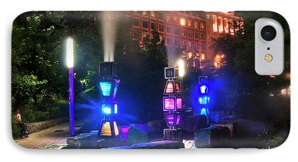 Rose Kennedy Greenway Steam Sculpture Garden At Night IPhone Case by Joann Vitali