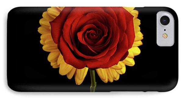 Rose On Yellow Flower Black Background IPhone Case by Sergey Taran