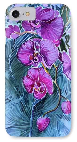 IPhone Case featuring the painting Rose Orchids by Mindy Newman