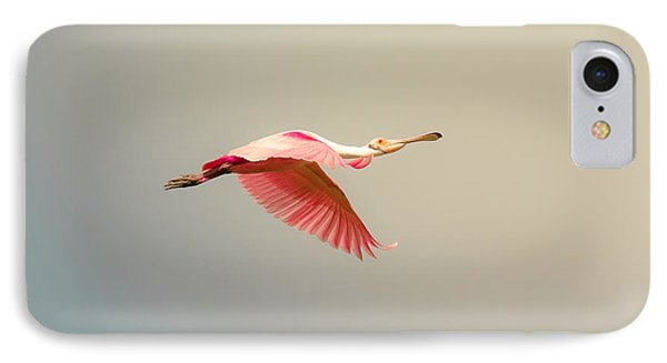 Roseate Spoonbill Flying IPhone Case
