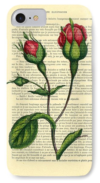 Rosebud Illustration On A Vintage Dictionary Book Page IPhone Case